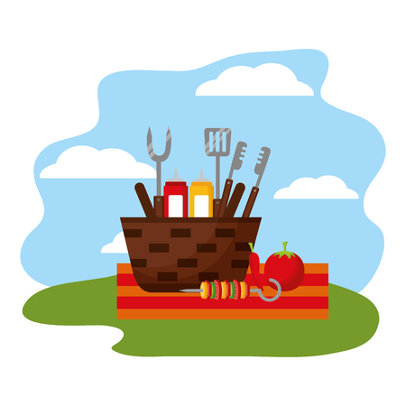 wicker basket barbecue sauces tongs vector illustration Ilustração