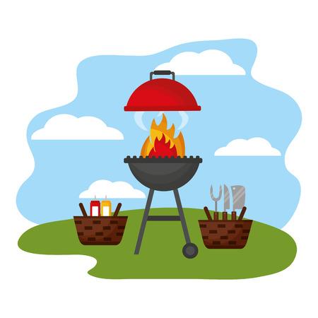Weidenkörbe Grill Picknick Utensilien Saucen Vektor-Illustration Vektorgrafik