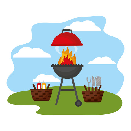 wicker baskets barbecue picnic utensils sauces vector illustration