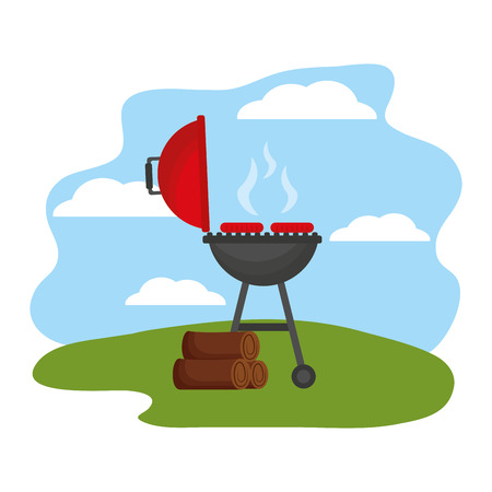 barbecue grill with sausages and wooden vector illustration