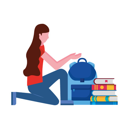 woman with backpack and books education school vector illustration