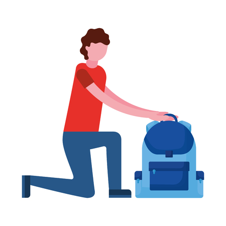 man on the knee with backpack vector illustration