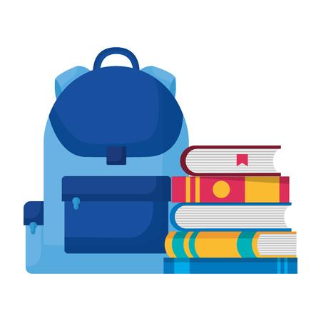 education school backpack and books vector illustration Stock Illustratie