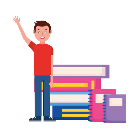 student man hand up with books vector illustration
