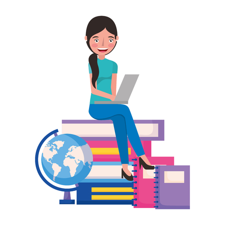 student woman with laptop books and school globe vector illustration