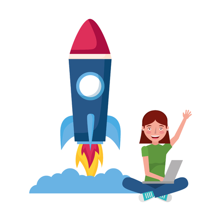 woman with laptop rocket education school vector illustration