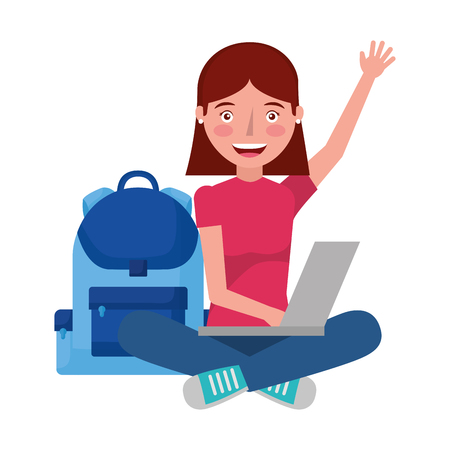 girl with laptop and backpack school vector illustration