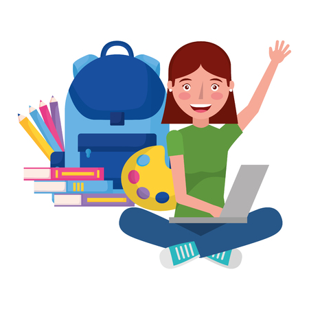 girl with laptop backpack and books education school vector illustration Illustration