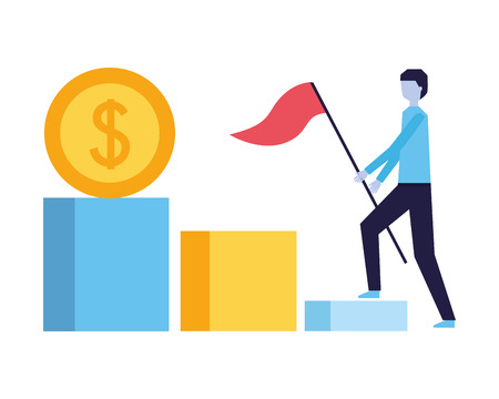 businessman with flag climbing stairs money vector illustration Illustration