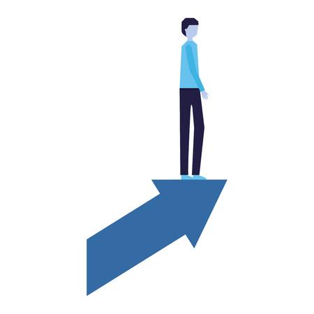 businessman standing on financial arrow vector illustration