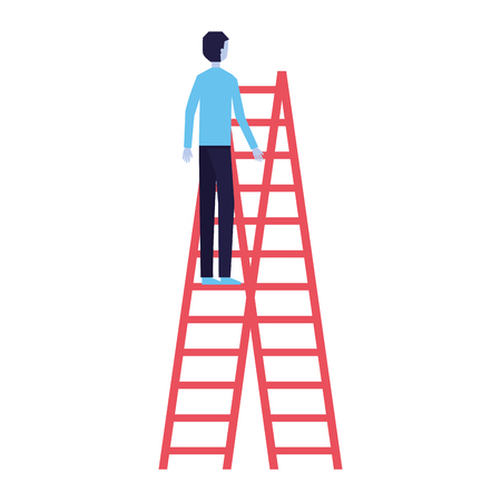 businessman climbing stairs white background vector illustration Standard-Bild - 126463503