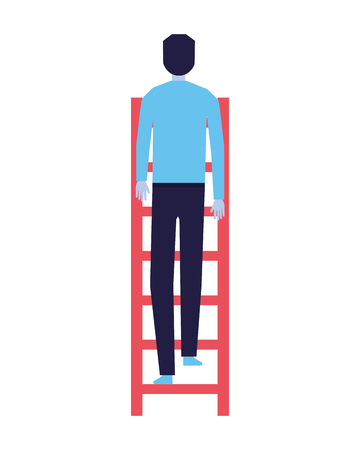 businessman climbing stairs white background vector illustration Illustration