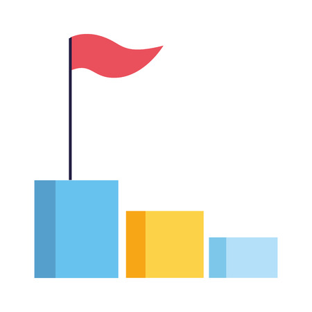 business chart bar with flag vector illustration
