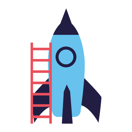 rocket with stairs on white background vector illustration Standard-Bild - 126463521