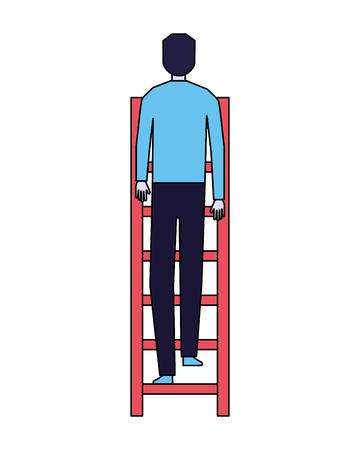 Geschäftsmann Treppensteigen weißer Hintergrund Vektor-Illustration Vektorgrafik