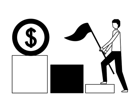 businessman with flag climbing stairs money vector illustration 일러스트