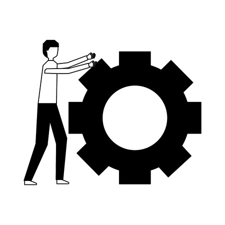 businessman pushing gear work strategy vector illustration 向量圖像