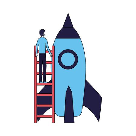 businessman, monter les escaliers, démarrage fusée, vecteur, illustration