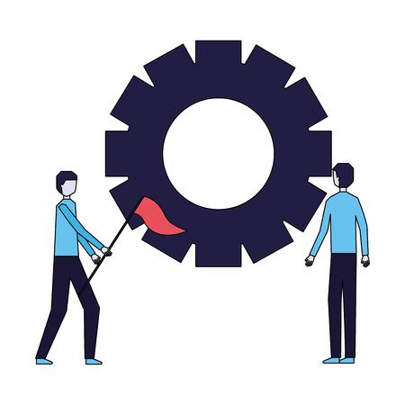 businessmen holding flag with gear work vector illustration Illustration