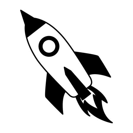 rocket launching on white background vector illustration