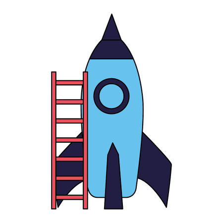 rocket with stairs on white background vector illustration 일러스트
