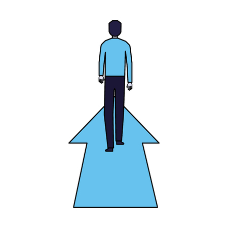 businessman standing on financial arrow vector illustration