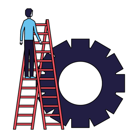 businessman climbing stairs gear team vector illustration