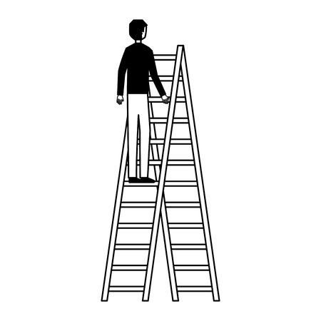 businessman climbing stairs white background vector illustration 일러스트