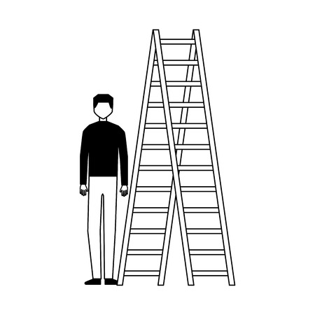 businessman with stairs on white background vector illustration