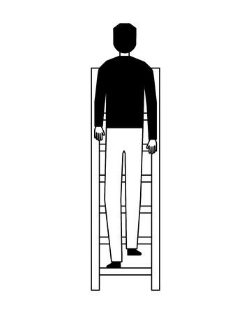 businessman climbing stairs white background vector illustration Illustration
