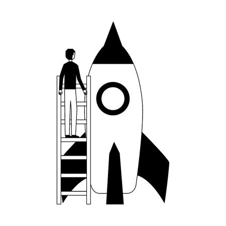 businessman climbing stairs rocket startup vector illustration
