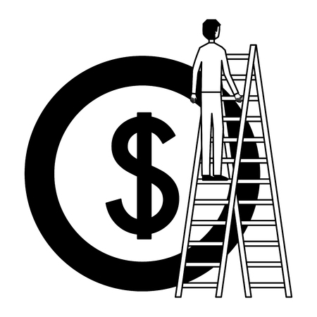 businessman climbing stairs and coin money vector illustration