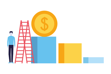 businessman coin stairs chart success business vector illustration Illustration