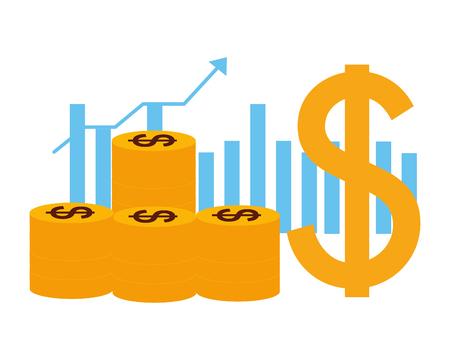Münzen-Dollar-Diagramm-Geschäftsgeld-Wachstumsvektorillustration Vektorgrafik