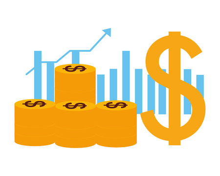 Monedas dólar gráfico negocio dinero crecimiento ilustración vectorial Ilustración de vector
