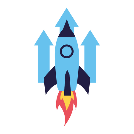 business rocket arrows up growth vector illustration