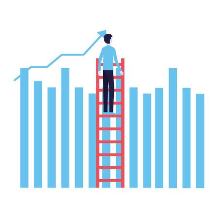 businessman climbing stairs chart bar success business vector illustration Illustration