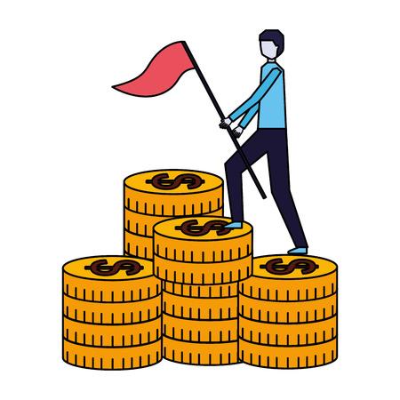 businessman climbing coins money success business vector illustration Illustration