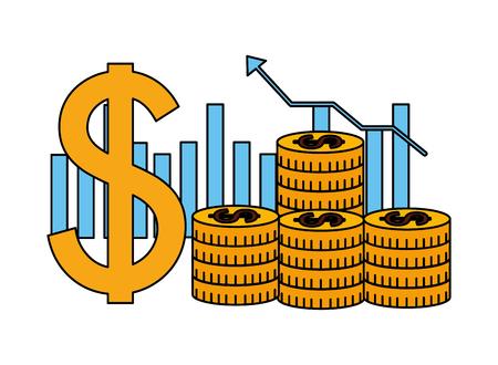 business dollar coins money chart bar vector illustration Illustration