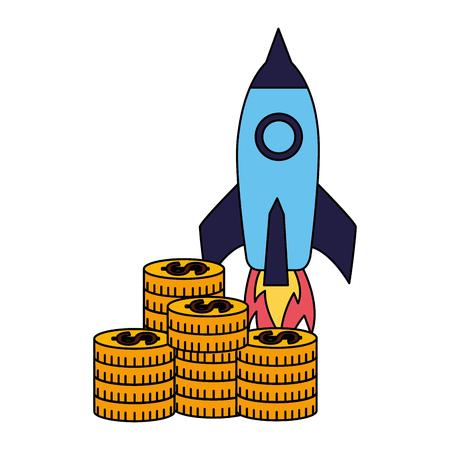 business rocket stack coins money vector illustration