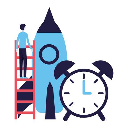businessman climbing stairs rocket clock success vector illustration