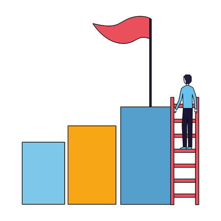businessman climbing stair chart bar flag success vector illustration 스톡 콘텐츠 - 126463871