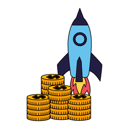business rocket stack coins money vector illustration