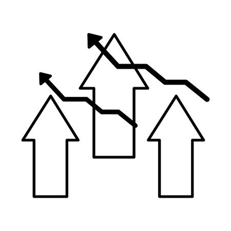 business financial arrows growth success vector illustration