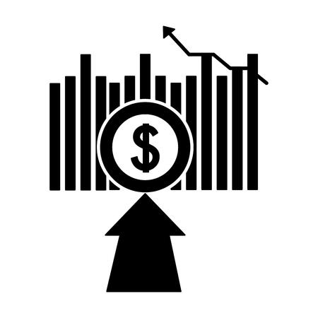 affari finanziari freccia moneta moneta illustrazione vettoriale