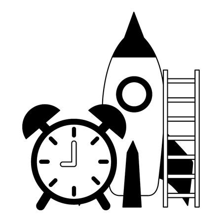 business clock rocket and stairs success vector illustration