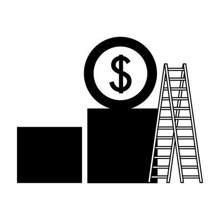 business money stairs chart bar vector illustration