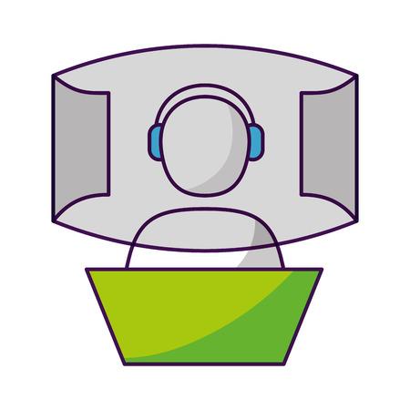 avatar vr helmet screen video game vector illustration