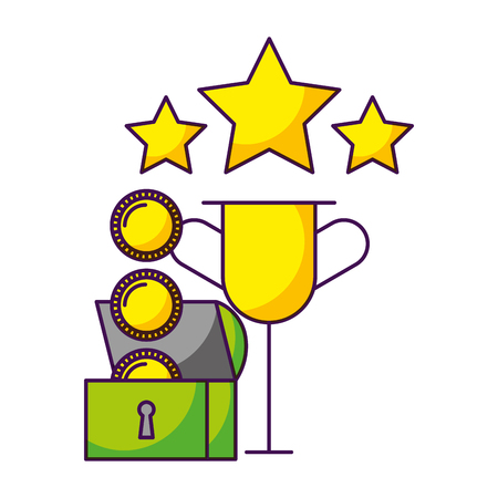 trophy chest coins video game white background vector illustration