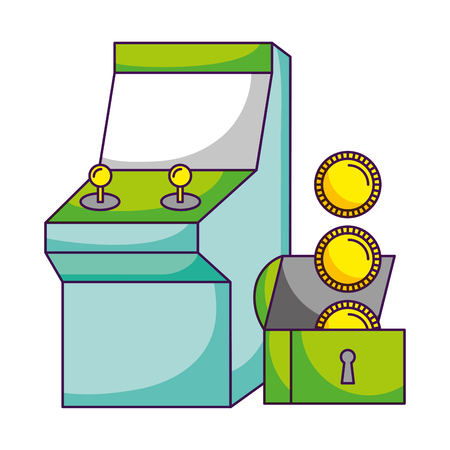 arcade chest coins video game white background vector illustration